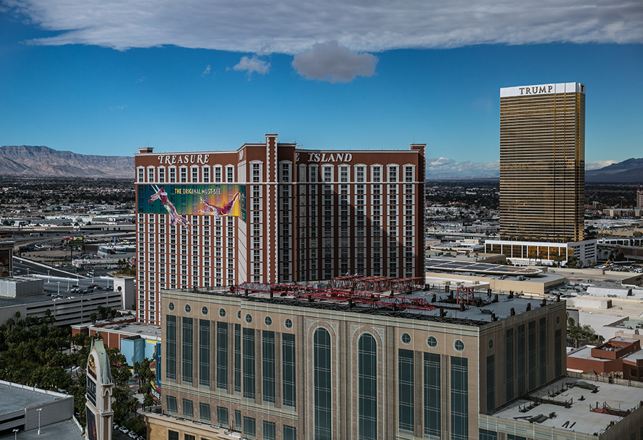 TWO TREASURES: Ruffin's marquee property on the Strip with a view of the Trump hotel