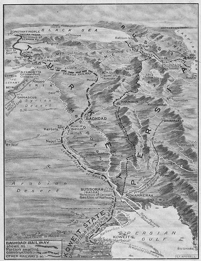 Карта 1913 года, на которую нанесен предполагаемый маршрут Багдадской дороги. Впоследствии он был изменен