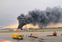 Опубликовано видео из горящего салона Superjet 100