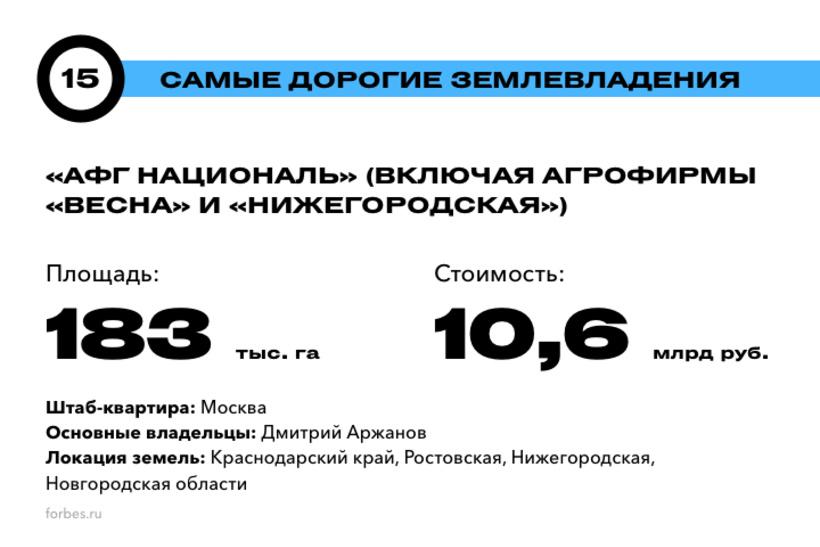 15. «АФГ Националь» (включая агрофирмы «Весна» и «Нижегородская»)