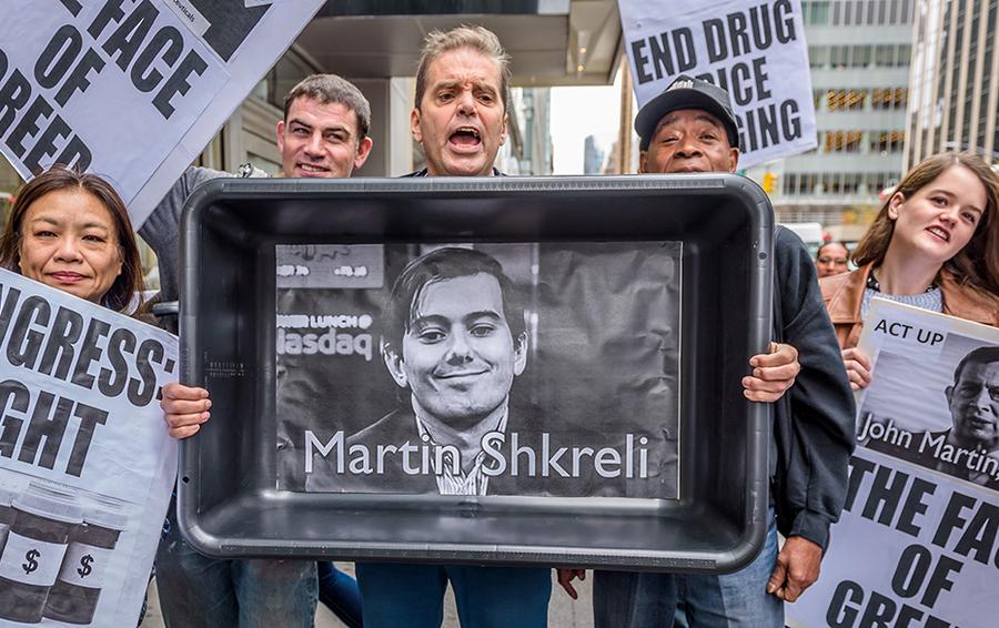 Акция протеста против резкого скачка цен на Дараприм в Нью-Йорке.