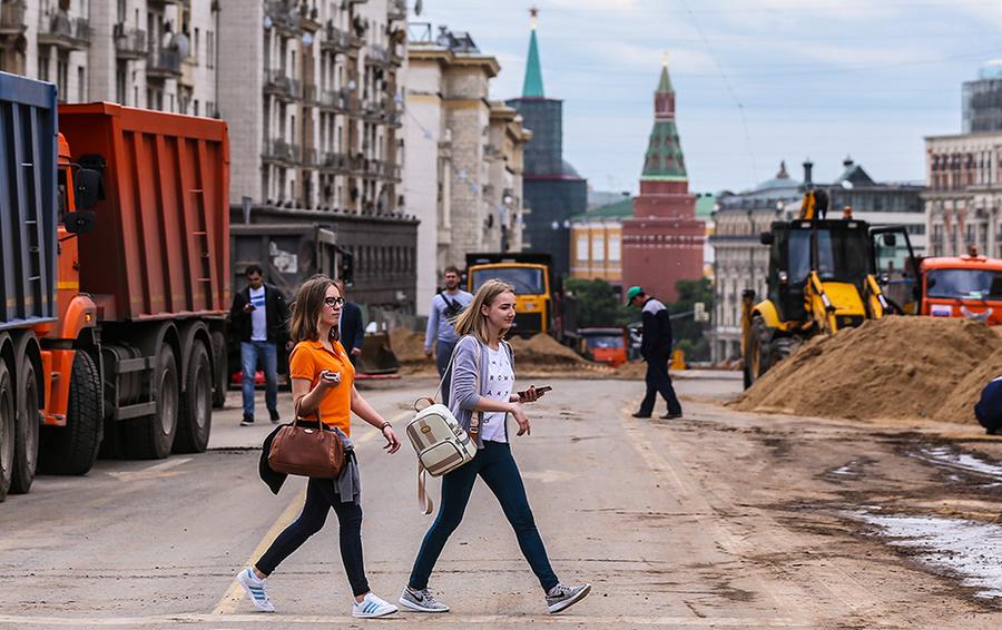 Работы по благоустройству Тверской улицы