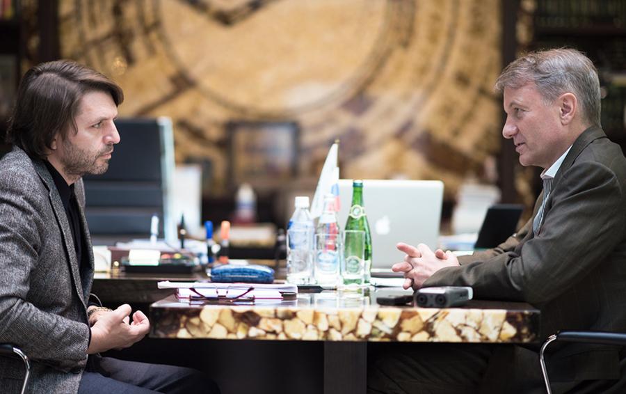 Главный редактор Forbes Николай Усков с президентом и председателем правления Сбербанка Германом Грефом