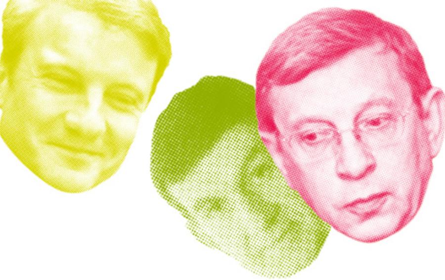 Крупный контракт Сбербанка Германа Грефа (слева) всерьез ударил по рыночным позициям компании КРОК Бориса Бобровникова (в центре). При чем тут миллиардер Владимир Евтушенков (справа)?