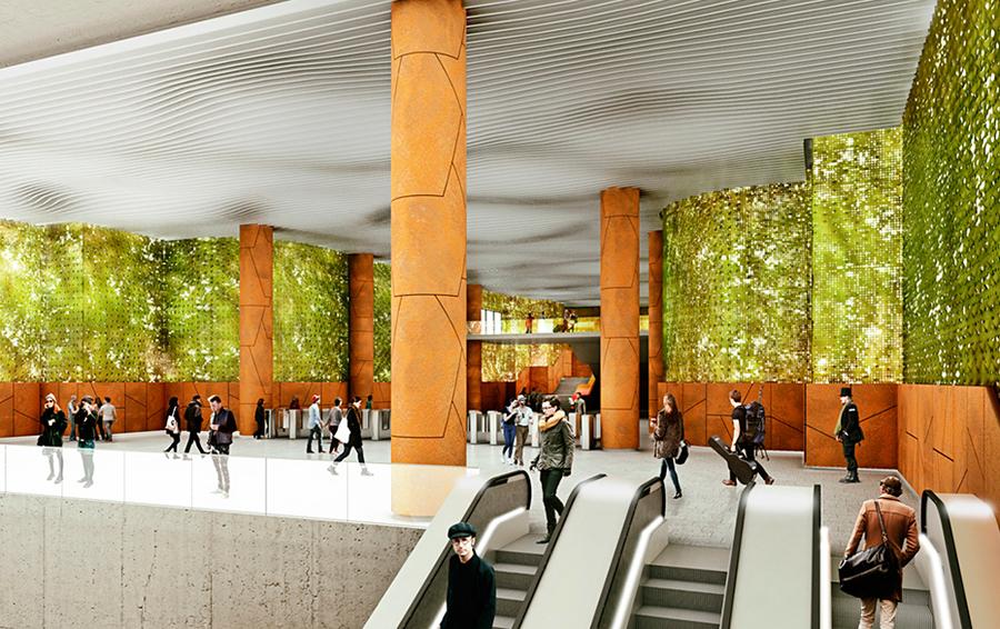 Эскиз станции «Стромынка» ТПК на уровне распределительного зала.