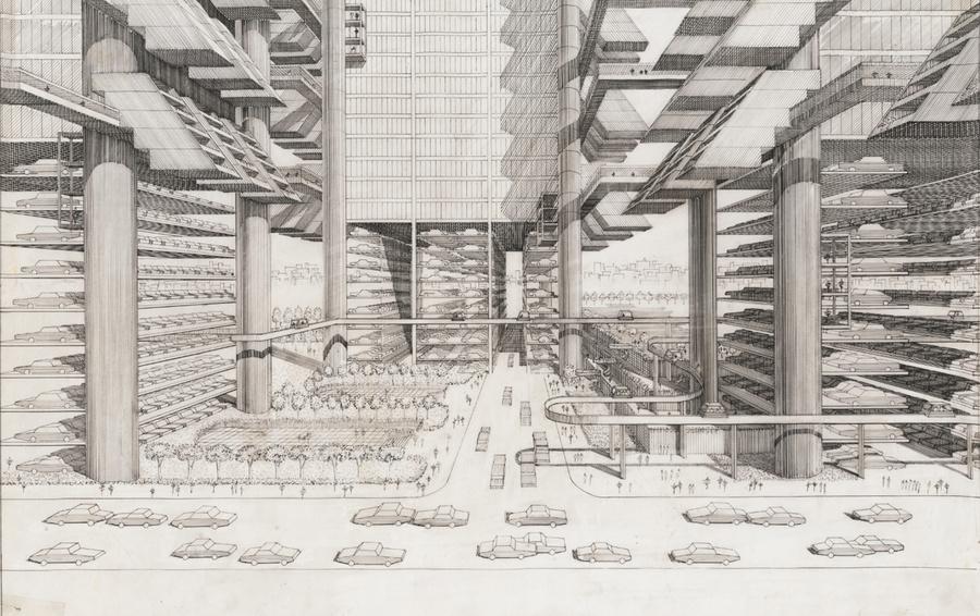 Американский архитектор Пол Рудольф делал эскизы для проекта скоростной магистрали на Манхэттене, сейчас они хранятся в Библиотеке Конгресса.