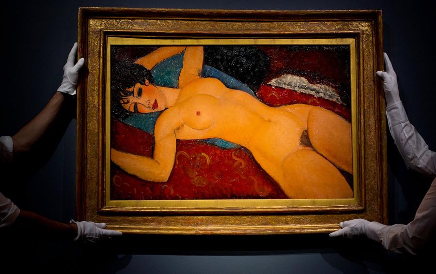 «Лежащая обнаженная с голубой подушкой», Амедео Модильяни