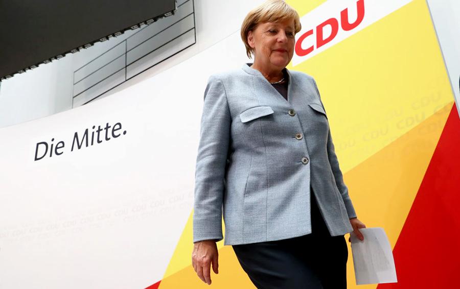 Ангела Меркель после выступления в ХДС по итогам парламентских выборов в Германии