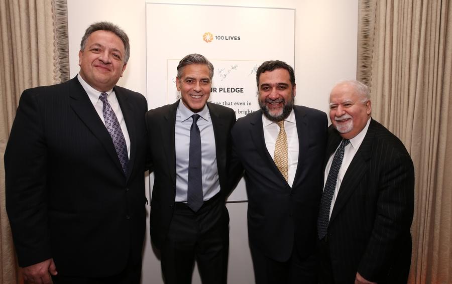Учредители «Авроры» Нубар Афеян, Рубен Варяданян, Вартан Грегорян и Джордж Клуни