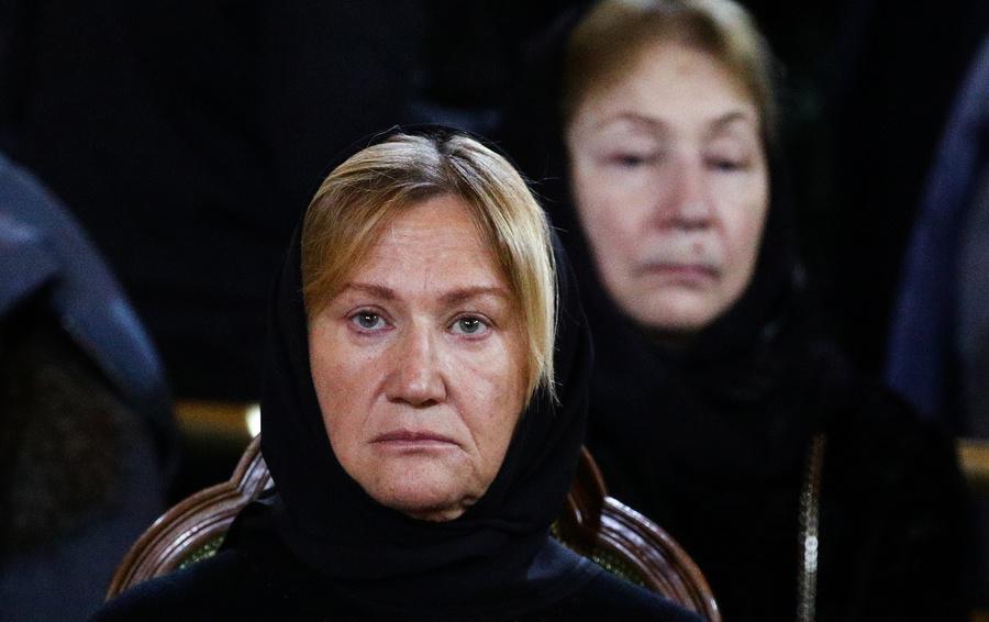 Вдова Юрия Лужкова Елена Батурина на церемонии прощания с бывшим мэром Москвы