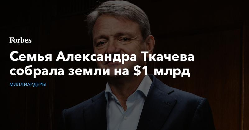 Семья Александра Ткачева собрала земли на $1 млрд | Миллиардеры | Forbes.ru