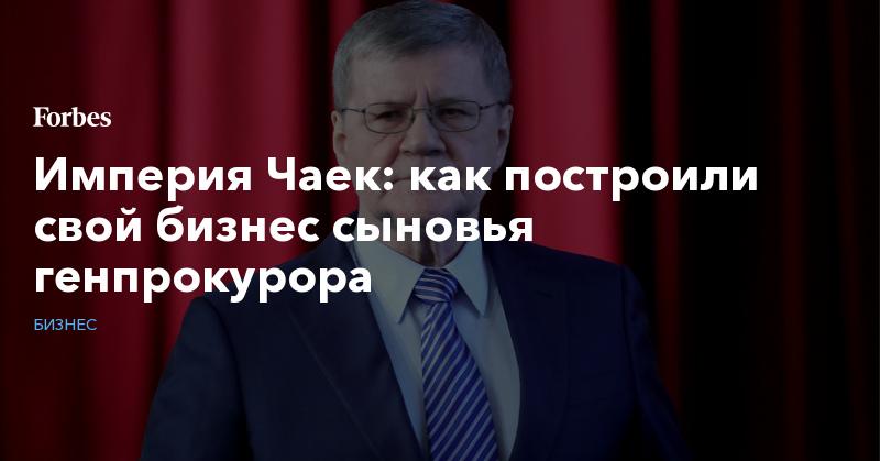 Империя Чаек: как построили свой бизнес сыновья генпрокурора | Бизнес | Forbes.ru