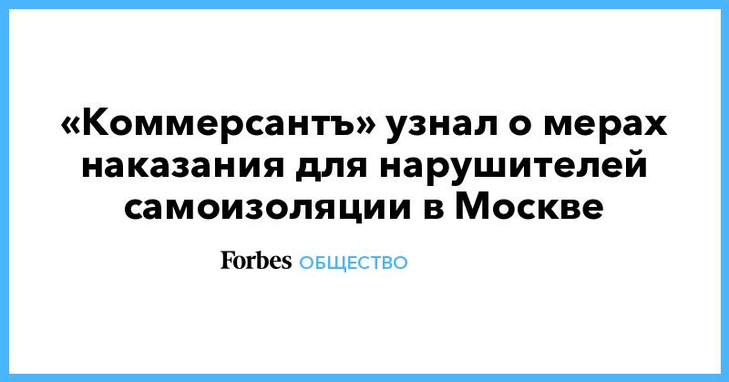 «Коммерсантъ» узнал о мерах наказания для нарушителей самоизоляции в Москве