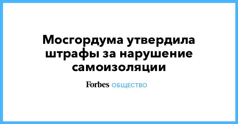 Мосгордума утвердила штрафы за нарушение самоизоляции