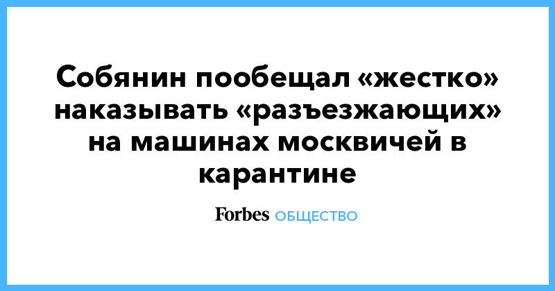 Собянин пообещал «жестко» наказывать «разъезжающих» на машинах москвичей в карантине