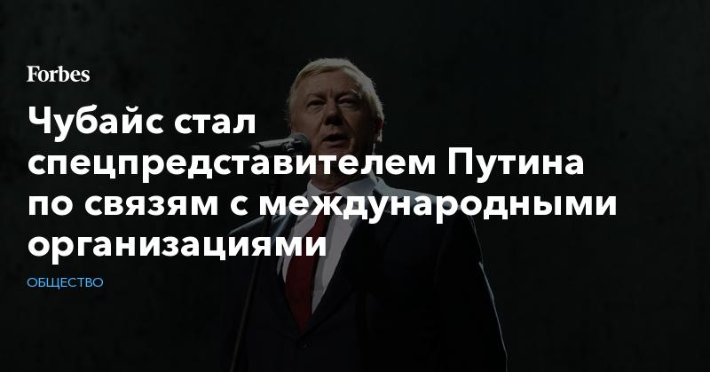 Чубайс стал спецпредставителем Путина по связям с международными организациями