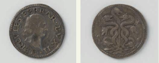Монета с профилем Эрколе I д'Эсте (аверс и реверс)