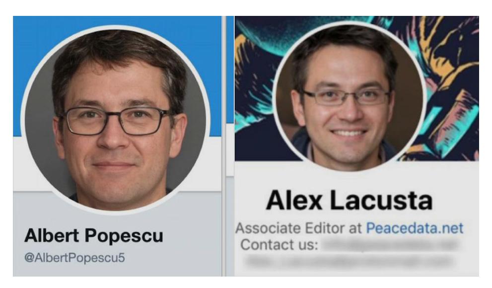 Профили в социальных сетях Альберта Попеску и Алекса Лакусты, поддельных редакторов PeaceData.